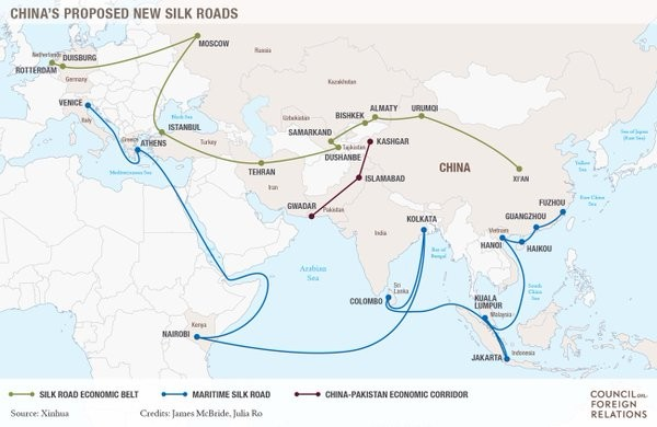 A map of China's proposed Silk Road Initiative.