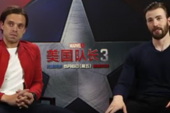 Sebastian Stan (left) and Chris Evans (right) are interviewed in a press tour of the Civil War movie.