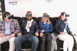 Team USA athletes Paige Railey  and other guests attend Samsung''s Virtual Reality Experience Powered by Gear VR during the 2016 Road to Rio Tour in Times Square on April 27, 2016.