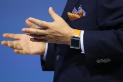 J.K. Shin, President and CEO of IT and Mobile Communications Division at Samsung, presents the new Samsung Galaxy Gear smart watch