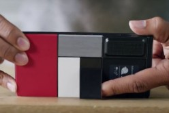 Google ATAP's Project ARA modular smartphone is placed on a table