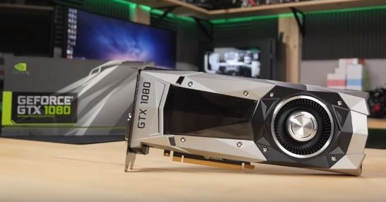 NVIDIA's GTX 1080, not the GTX 1070, is placed on a table with the box behind