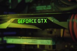 The NVIDIA GTX 1080, not the GTX 1080 Ti, is running inside a gaming rig.