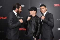 Jake Gyllenhaal, Eminem and Miguel Gomez attend the New York premiere of 'Southpaw' for THE WRAP at AMC Loews Lincoln Square on July 20, 2015 in New York City.