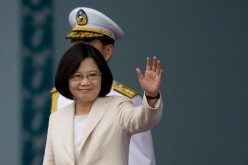 Taiwan President Tsai Ing-wen waves to the supporters at the celebration of the 14th presidential inauguration on May 20, 2016, in Taipei, Taiwan.