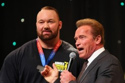 Arnold Schwarzenegger speaks to Hafthor Julius Bjornsson of Iceland after he won the Arnold Classic Professional Strongman competition during the 2016 Arnold Classic on March 19, 2016 in Melbourne, Australia.