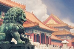 How about a mini replica key chain of this sculpture? (Above) An imperial guardian lion stands at the Forbidden City.