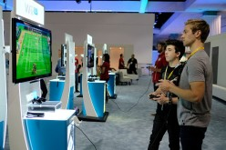 Expo attendees playing Wii U game
