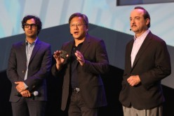 Actor Kunal Nayyar, president and CEO of Nvidia Jen-Hsun Huang and president and CEO of AT&T Mobility Ralph de la Vega speak at the 2014 AUDI CES Keynote presentation