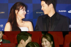The photo shows Joong Ki and Hye Kyo's eyes interlocked like they are in a sweet staring contest.