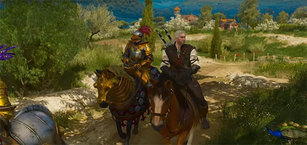 """The Witcher 3's"" main protagonist Geralt arrives in Toussaint with other knights to guide him."