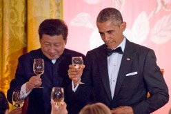 President Barack Obama and President Xi Jinping exchange toasts during a state dinner at the White House on Sept. 25, 2015, in Washington, D.C.