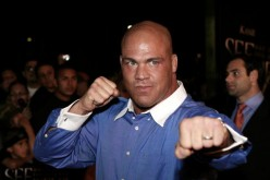 Kurt Angle poses in front of the camera during the 'See No Evil' premiere back in May 2006.