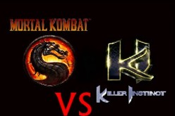Symbols of two iconic games suggesting a crossover, 'Mortal Kombat' vs. 'Killer Instinct'.