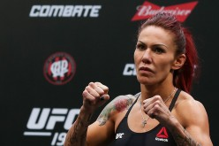 Cris Cyborg Justino of Brazil weighs in during the UFC 198 weigh-in at Arena da Baixada stadium on May 13, 2016 in Curitiba, Brazil.