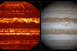 This view compares a lucky imaging view of Jupiter from VISIR (left) at infrared wavelengths with a very sharp amateur image in visible light from about the same time (right).