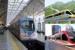 (Clockwise) A metro/rapid transit running the Beijing Subway Line 13, a medium and low-speed EMS magnetic levitation (maglev) train and a low-floor light rail vehicle manufactured by CRRC Tangshan.