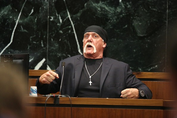 Hulk Hogan testifies in court during his trial against Gawker Media.