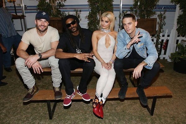Sam Hunt, Snoop Dogg, Bebe Rexha and G-Eazy pose for a photo backstage at Stagecoach 2016 after their Bud Light Music Stage Moment at The Empire Polo Club on April 29, 2016 in Indio, California.
