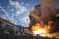 The second and final qualification motor (QM-2) test for the Space Launch System's booster is seen, Tuesday, June 28, 2016, at Orbital ATK Propulsion Systems test facilities in Promontory, Utah.