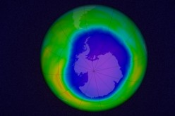 A simulation of the Antarctic ozone hole, made from data taken on October 22, 2015.