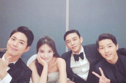 South Korean actors Park Bo-Gum, Song Hye-Kyo, Yoo Ah-In and Song Joong-Ki attend the 52nd Baeksang Art Awards on June 3, 2016.