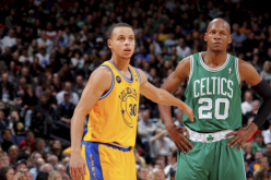 Ray Allen being guarded by Stephen Curry during Warrior, Celtics game.