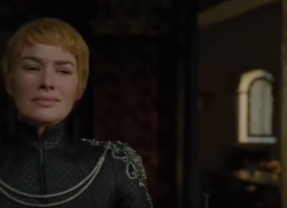 Cersei Lannister (Lena Headey) looks on the exploding Sept of Baelor.