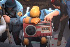 The BLU engineer plays the victory song for the competitive winners RED team in Team Fortress 2