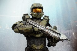 A character from the video game 'HALO 4' poses for photographs during the E3 gaming conference on June 5, 2012 in Los Angeles, California.