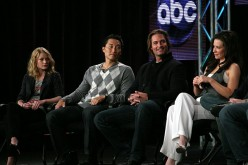 Emilie de Ravin, Daniel Dae Kim, Josh Holloway and Evangeline Lilly speak onstage at the ABC 'Lost' Q&A portion of the 2010 Winter TCA Tour day 4 at the Langham Hotel on January 12, 2010 in Pasadena, California.