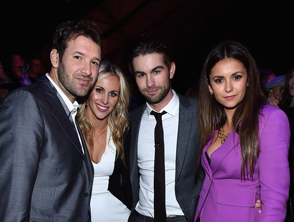 NFL player Tony Romo, Candice Crawford, Chace Crawford and Nina Dobrev attend DirecTV Super Saturday Night hosted by Mark Cuban's AXS TV and Pro Football Hall of Famer Michael Strahan at Pendergast Family Farm.