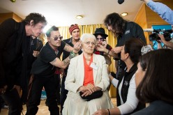 Hollywood Vampires' Joe Perry, Johnny Depp and Alice Cooper help a patient of the Starkey HEaring Foundation at Four Season Hotel Ritz Lisbon on May 27, 2016 in Lisbon, Portugal.