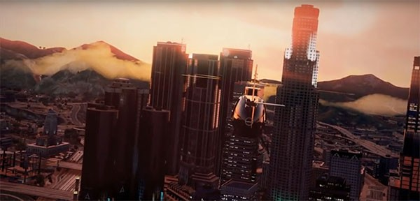"A helicopter flies over the fictional city of ""Grand Theft Auto 5"" with a beautiful sunset on the distance."