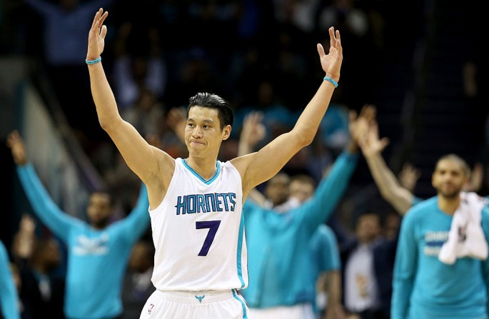 Jeremy Lin #7 of the Charlotte Hornets reacts after making a basket against the San Antonio Spurs during their game at Time Warner Cable Arena on March 21, 2016 in Charlotte, North Carolina.
