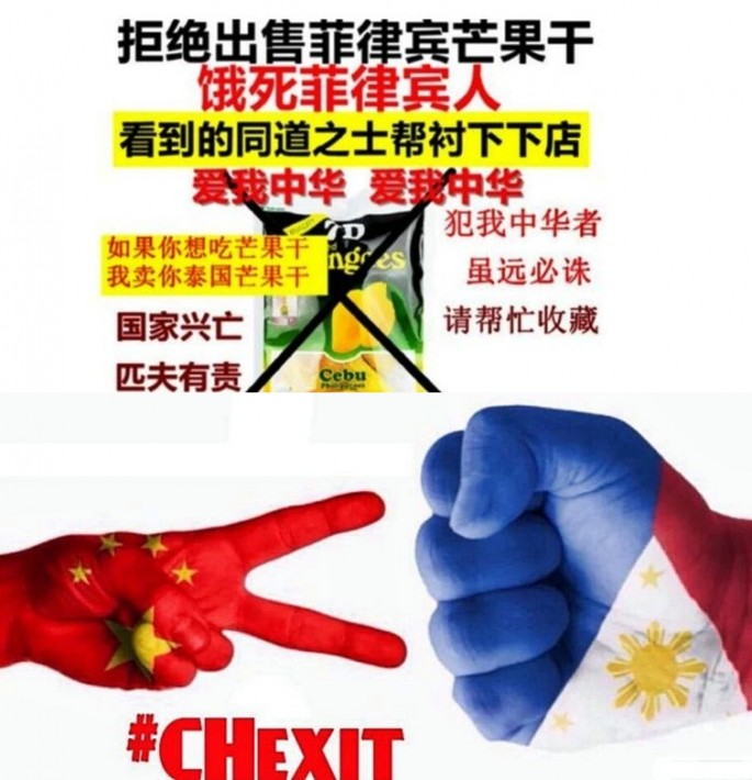 Weibo post urging Chinese to boycott Philippine mangoes (top) and CHexit, the Filipino slogan calling for China to leave the South China Sea.