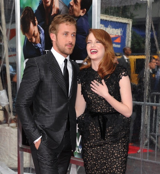 Actor Ryan Gosling and actress Emma Stone attend the 'Crazy, Stupid, Love.' World Premiere at the Ziegfeld Theater on July 19, 2011 in New York City.
