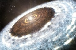 This artist's impression of the water snowline around the young star V883 Orionis, as detected with ALMA.