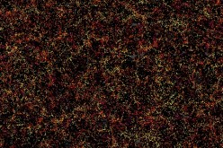 This is a section of the three-dimensional map constructed by BOSS. The rectangle on the far left shows a cut-out of 1000 sq. degrees in the sky containing nearly 120,000 galaxies, or roughly 10% of the total survey.