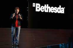 Game Director and Executive Producer at Bethesda Game Studios, Todd Howard speaks about 'Fallout 4' during the Bethesda E3 2015 press conference at the Dolby Theatre.