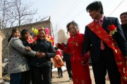 Rural wedding ceremony in Shaanxi Province.
