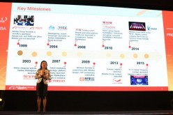 Alibaba Australia head Maggie Zhou presenting the range of Australian consumer products that are to be made available to the company's costumers.