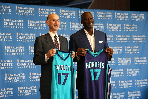 NBA commissioner Adam Silver (left) poses with Charlotte Hornets owner Michael Jordan (right) last June 2015, after the announcement of Charlotte as the host of the 2017 All-Star Weekend