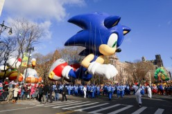 The Sonic the Hedgehog balloon is seen during the 87th Annual Macy's Thanksgiving Day Parade.