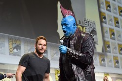 "Actors Chris Pratt (L) and Yondu (Michael Rooker) from Marvel Studios' 'Guardians Of The Galaxy Vol. 2"" attend the San Diego Comic-Con International 2016 Marvel Panel in Hall H on July 23, 2016 in San Diego, California"