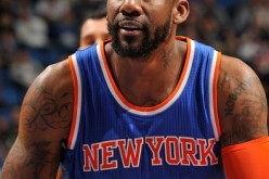 Amar'e Stoudemire prepares to shoot a free throw as a member of the New York Knicks during a game on February 11, 2015.