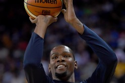 Kevin Durant shoots during warm-ups before the USA-China exhibition game in Oakland.