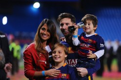 Barcelona forward Lionel Messi and family.