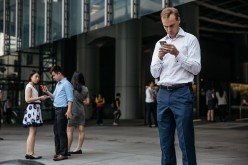 A foreign office worker in Hong Kong takes a break from his work.
