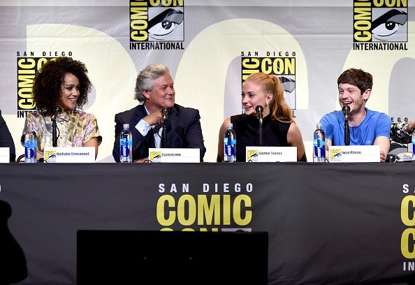 (L-R) Actors Nathalie Emmanuel, Conleth Hill, Sophie Turner, and Iwan Rheon attend the 'Game Of Thrones' panel during Comic-Con International 2016 at San Diego Convention Center on July 22, 2016.